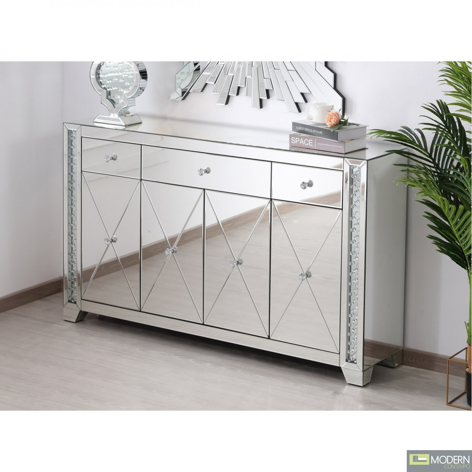 """Gianna 60"""" clear crystal mirrored credenza"""