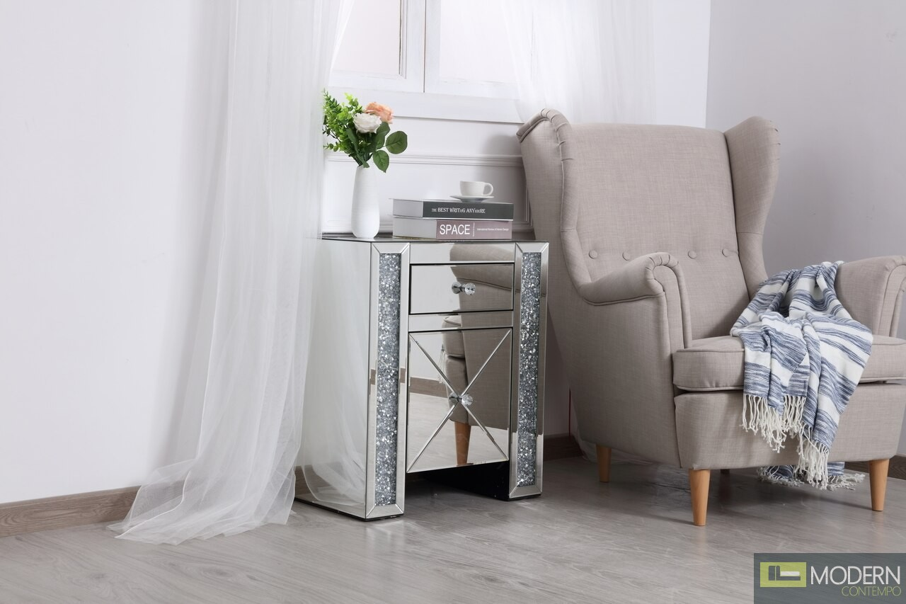 "Octavia 21.5"" silver crystal mirrored one drawer cabinet"