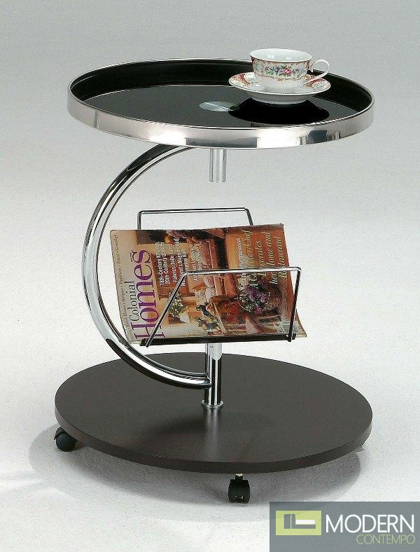 Minerva Wheeled Glass End Table w/ Magazine Rack