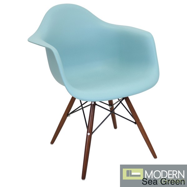 Neo Flair Arm Chair Sea Green with Espresso Wooden Legs