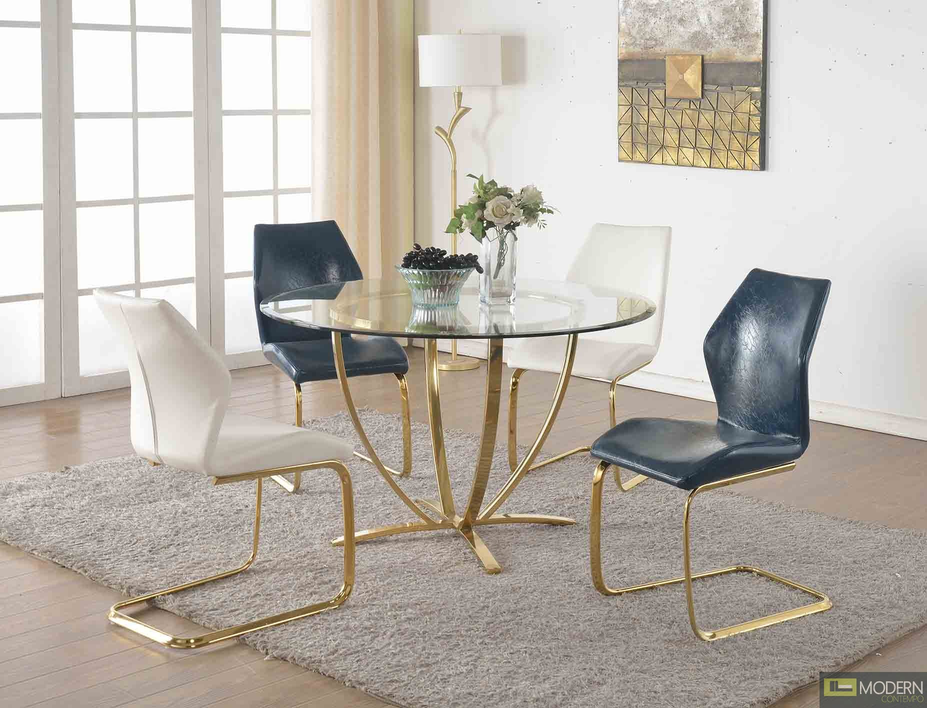 5Pc Natasha Dining Set with Gold Accents