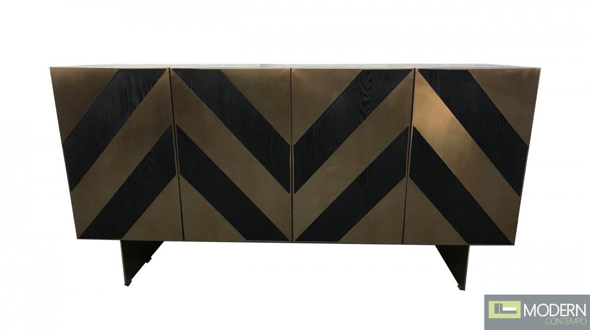 Peruzzi Glam Black Ash & Brass Gold Modern Buffet