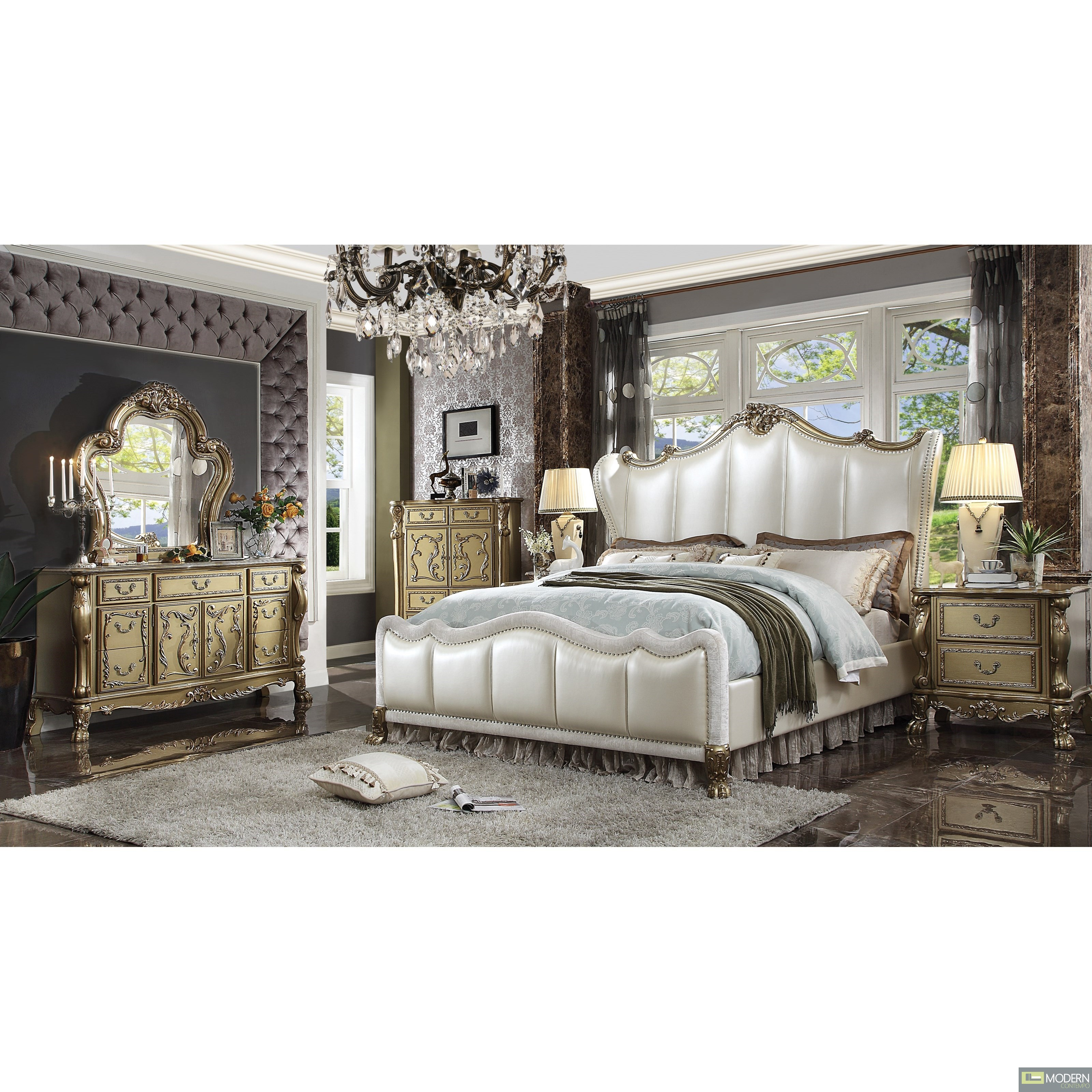 Luxury Champagne PU leather Gold Patina Finish with Velvet Bed.