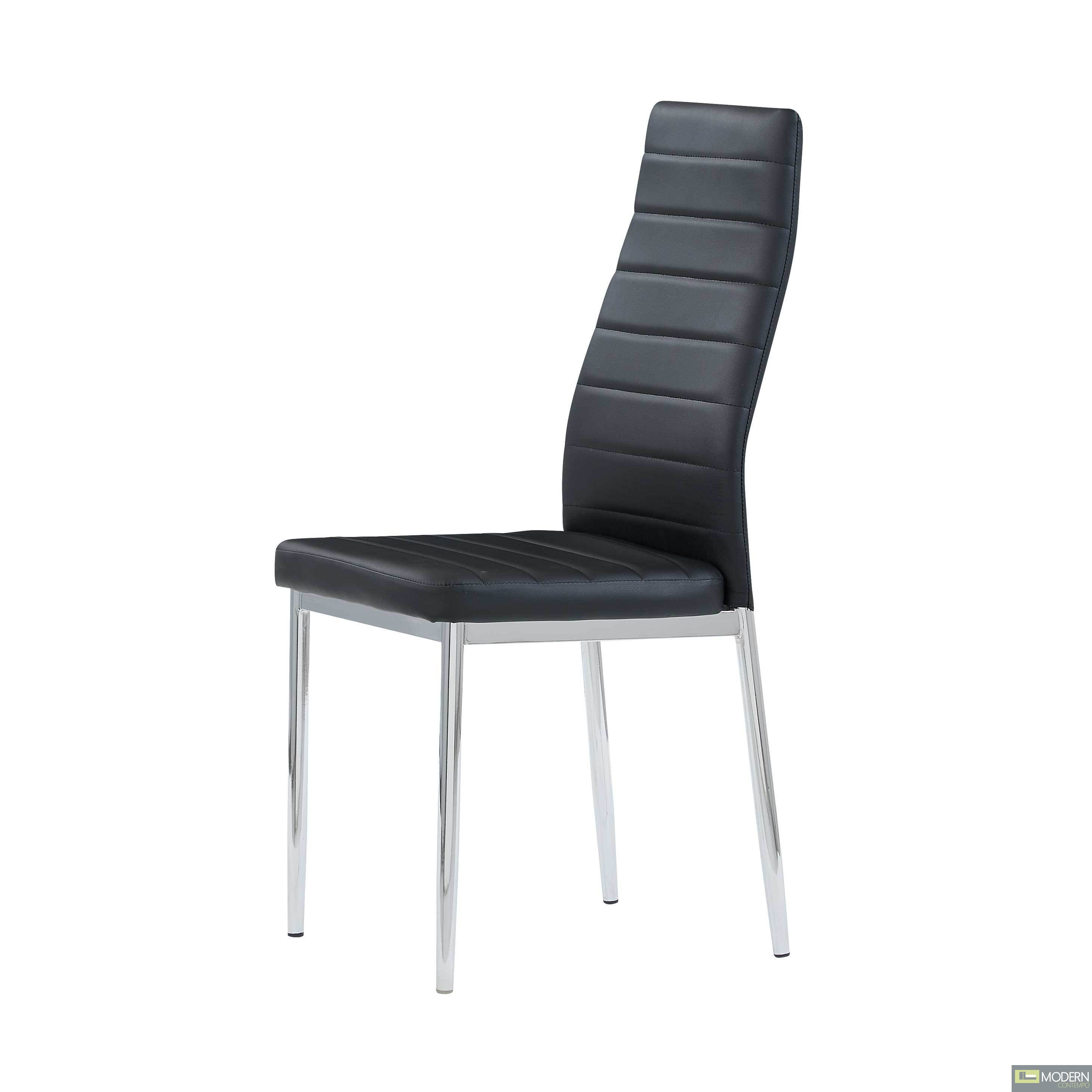 Set of 2 Black Leatherette Dining Chairs