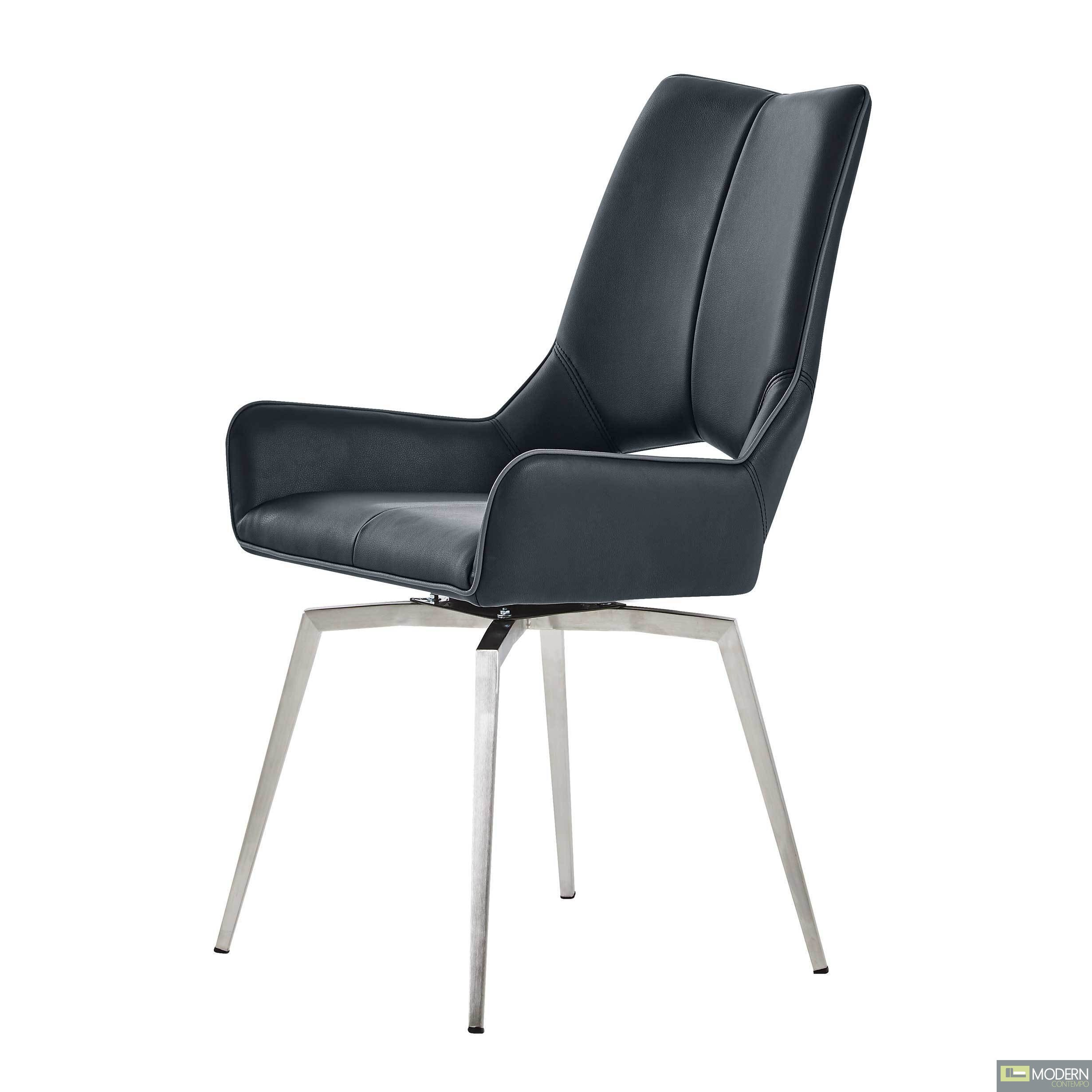 Set of 4 Black Leatherette  Swivel Dining Chairs