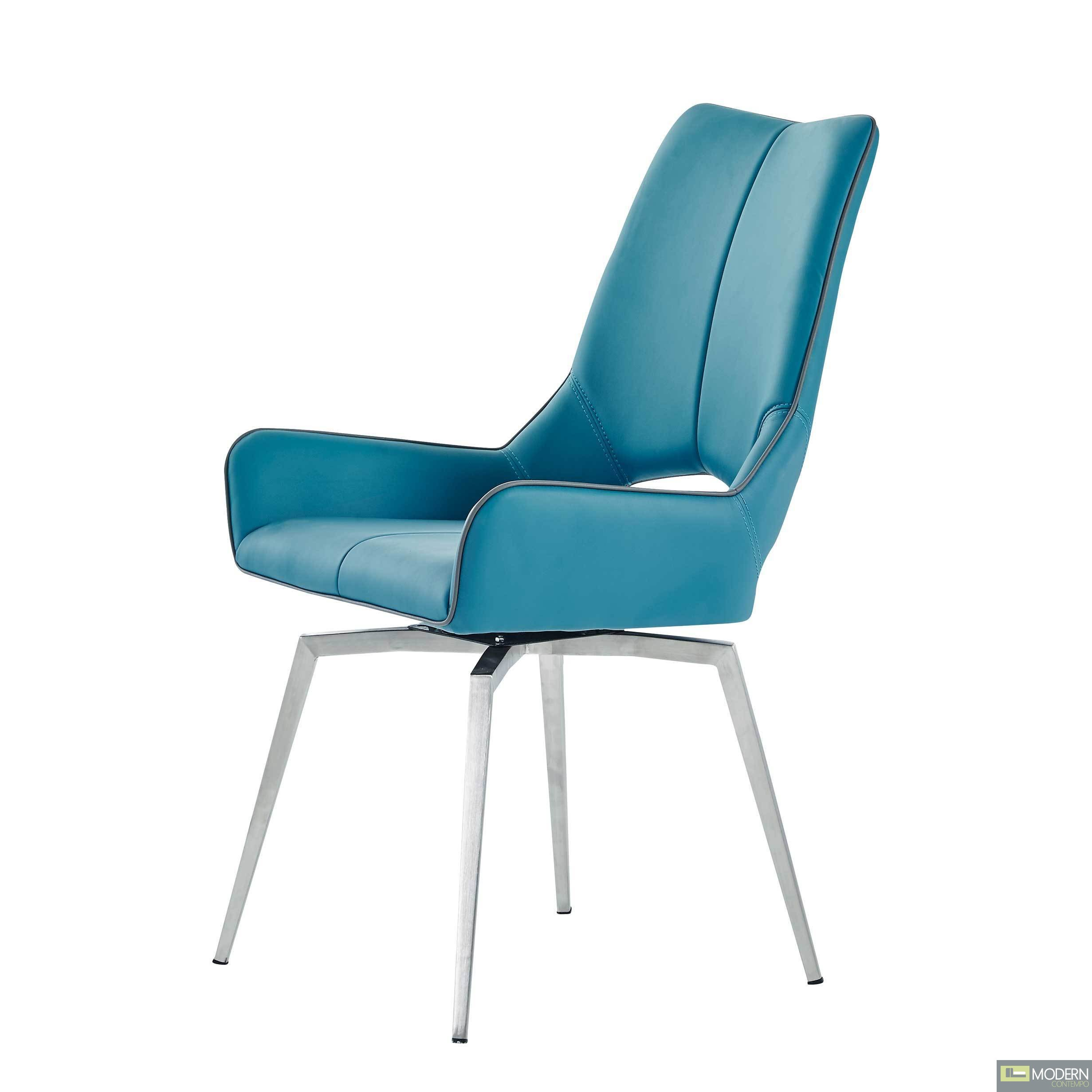 Set of 4 Turquoise  Leatherette  Swivel Dining Chairs