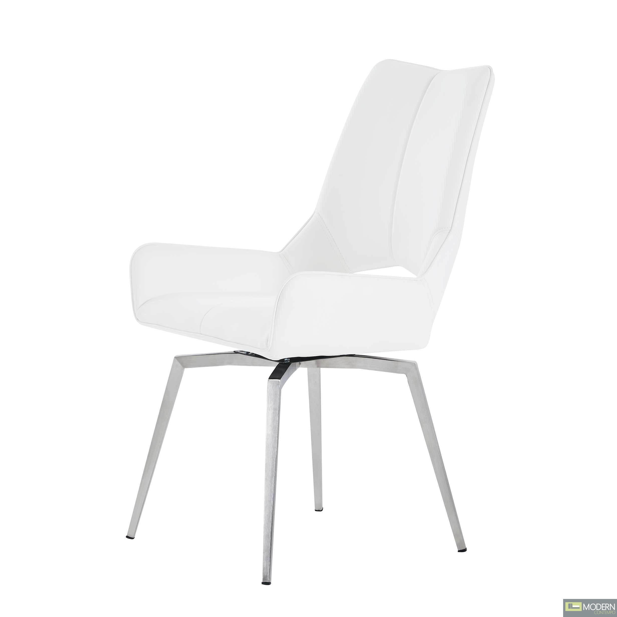 Set of 4 White Leatherette  Swivel Dining Chairs
