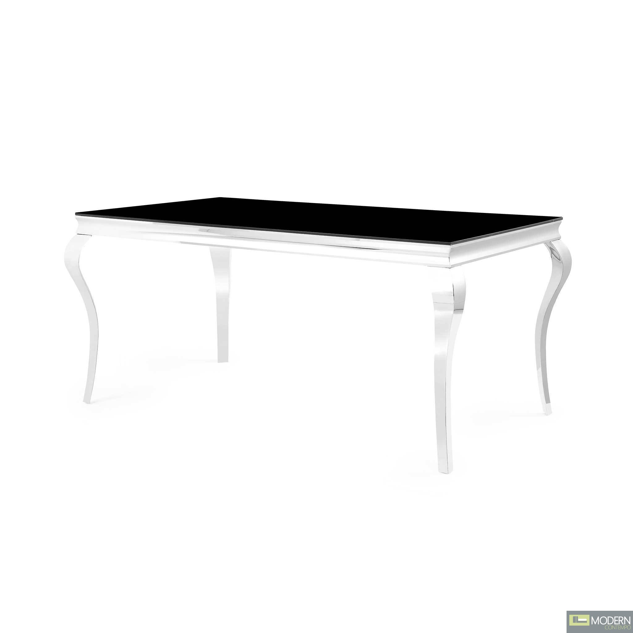 Neoclassical Dining Table with Black Glass Top and Polished Stainless Steel Base