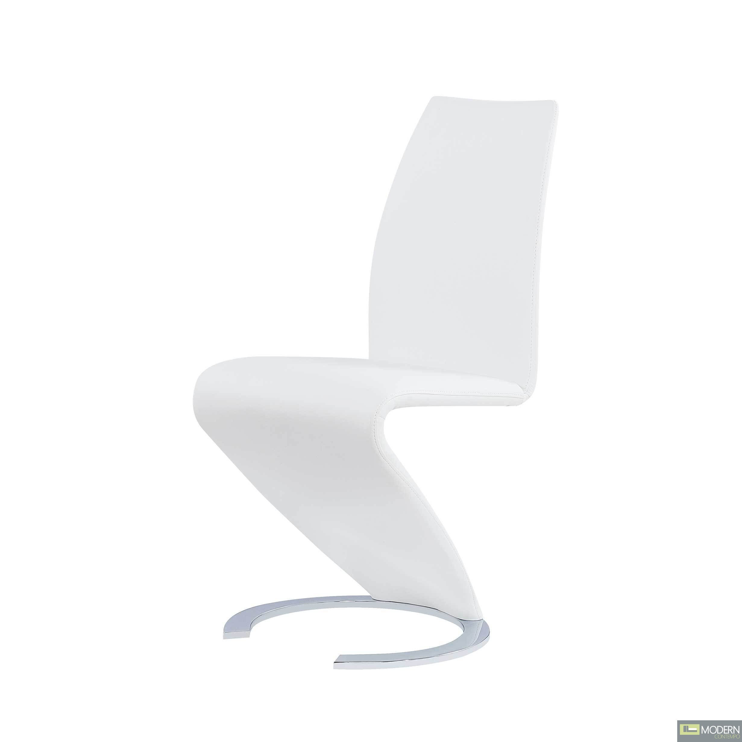 Set of 2 Arizona White Leatherette  Dining Chairs