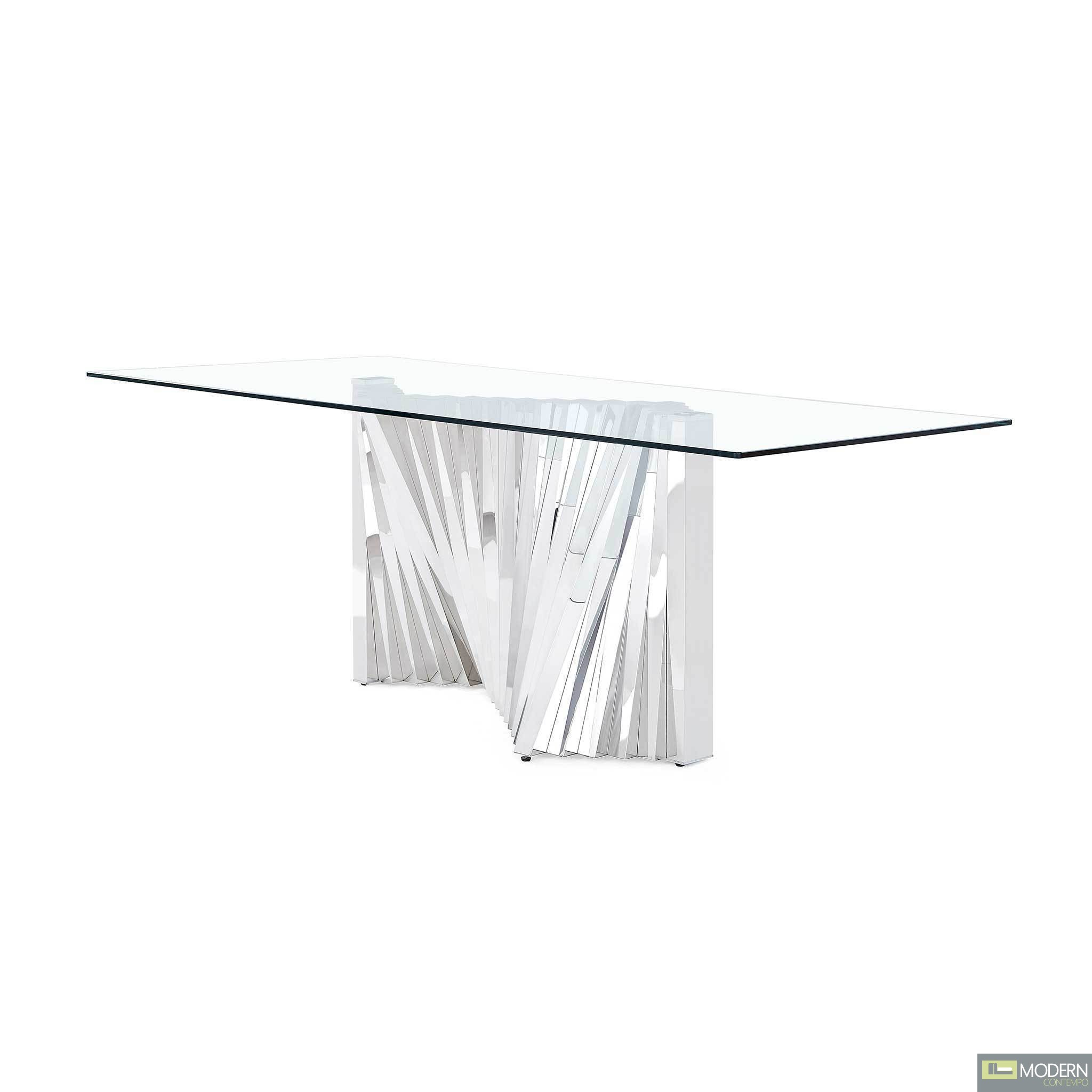 Jupiter Modern Clear glass and stainless steel base table.