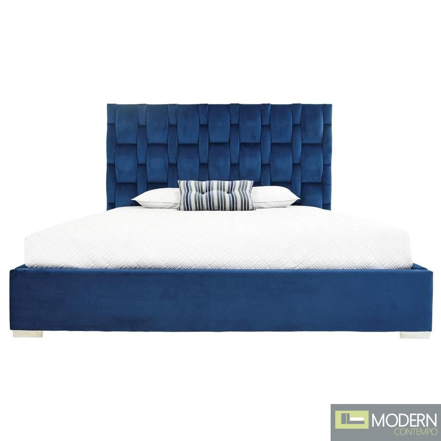 Livia Platform Bed with LED BLUE VELVET