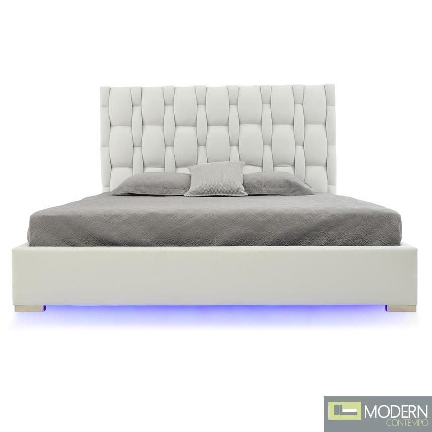 Livia Platform Bed with LED WHITE