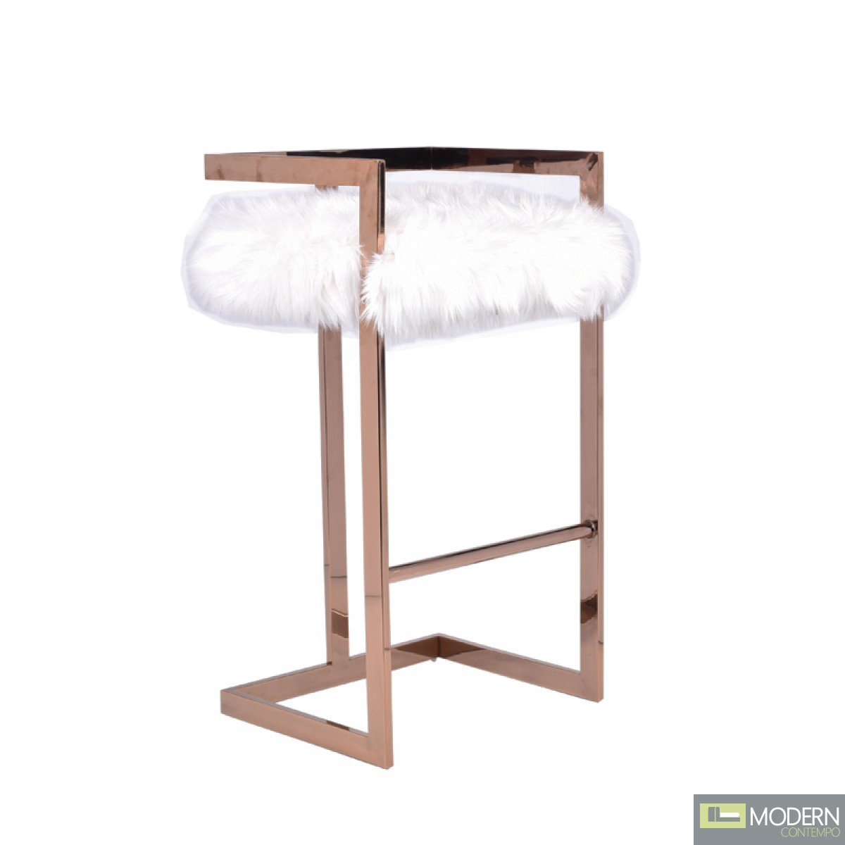 Massimo Modern White Fur & Rosegold Bar Stool