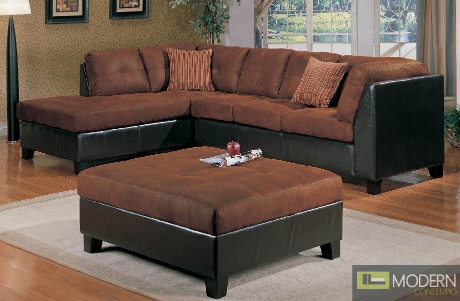 2 Pc Modern Chocolate Microfiber Sectional Sofa Living Room Set TBQS014P1