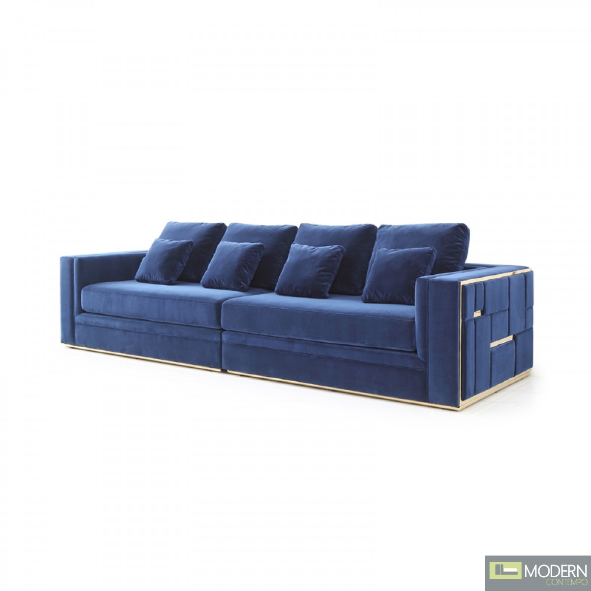 Bianca Modern Blue Velvet & Gold Large Sofa