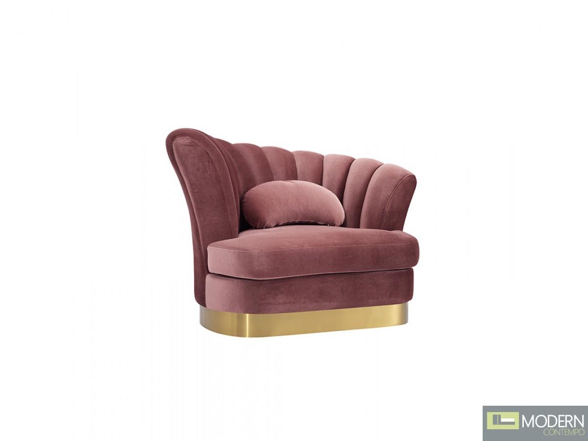 Bella Vita Modern Salmon Pink Velvet & Gold chair