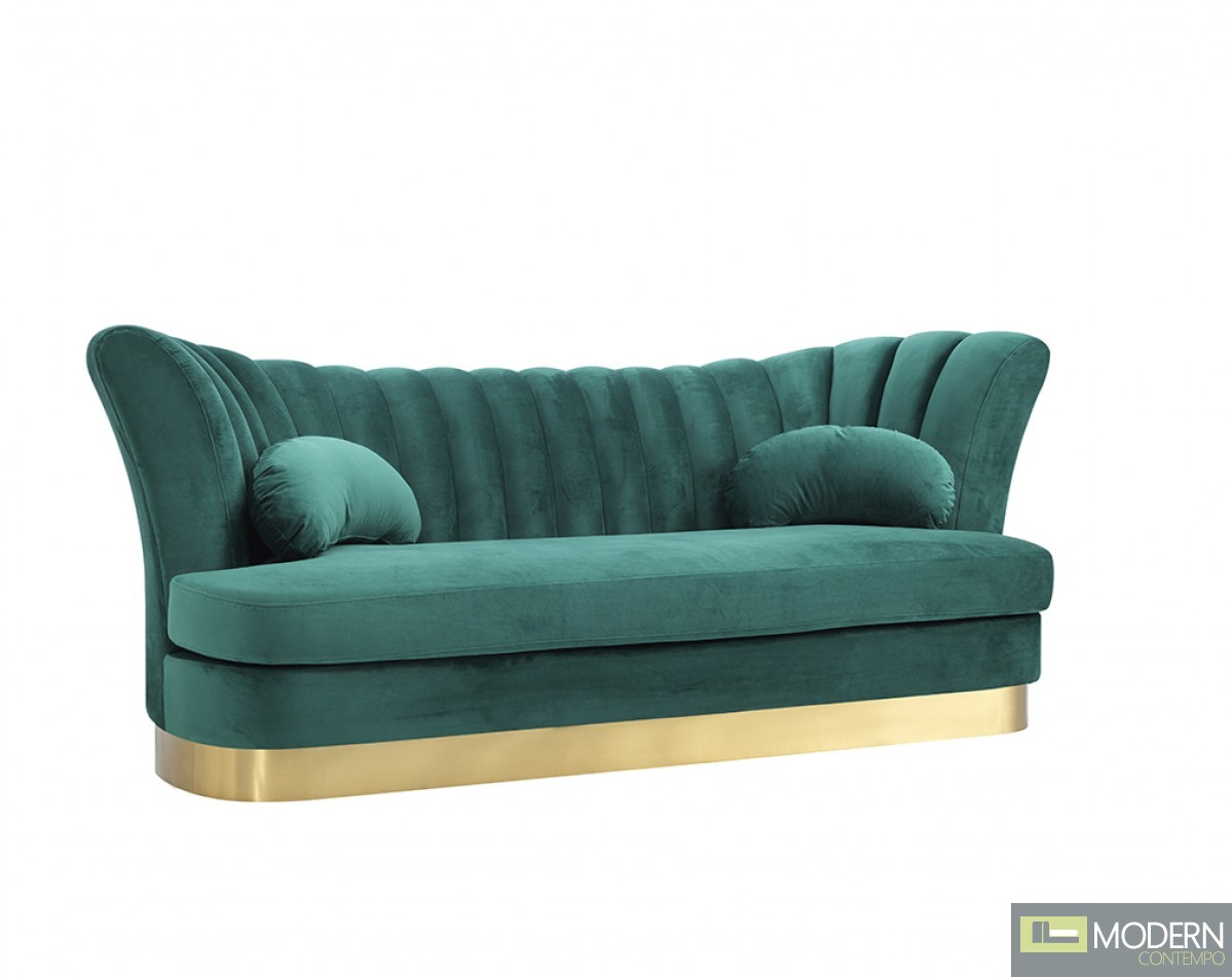 Bella Vita Modern Sea Green Velvet & Gold Sofa
