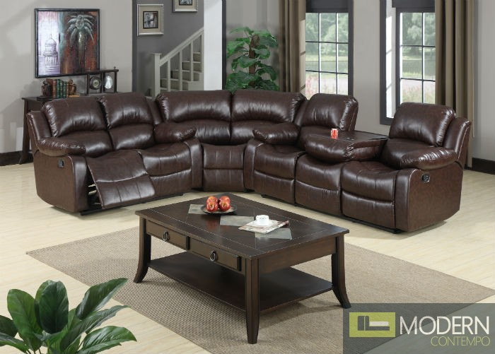 3 Pc Modern Brown Bonded Recliner Sectional Leather Sectional Sofa Living Room Set TBQS488P1