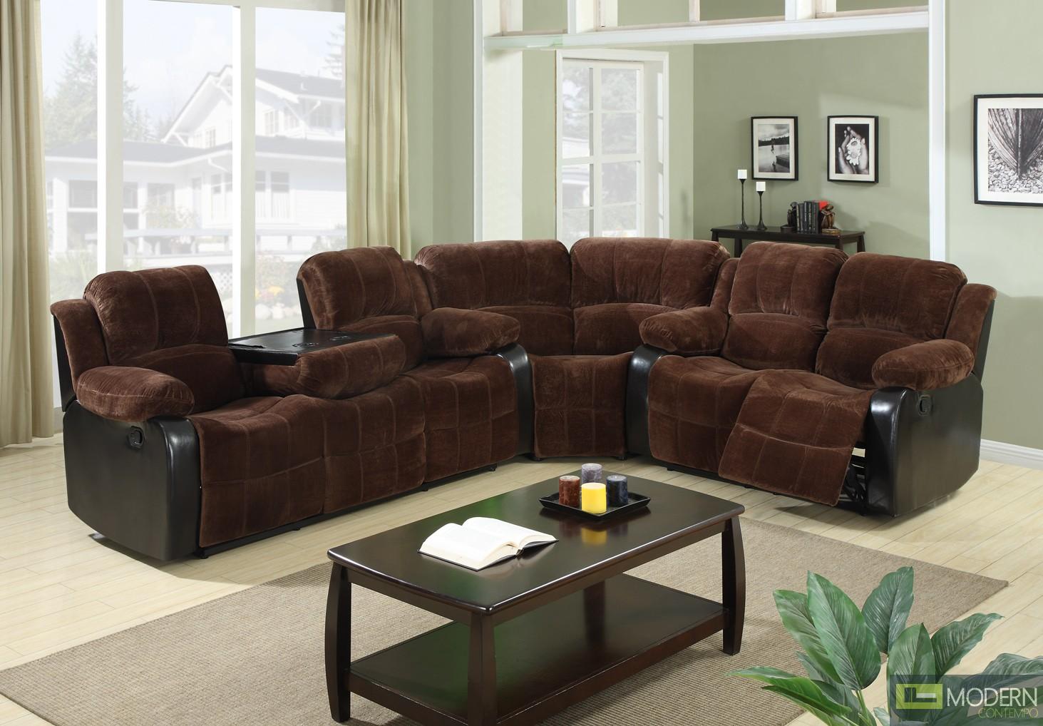 3 Pc Modern Chocolate Sectional Sofa Set Living Room Set TBQS489