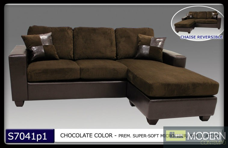 2 Pc Modern Chocolate Microfiber Sectional Sofa Living Room Set TBQS7041P1