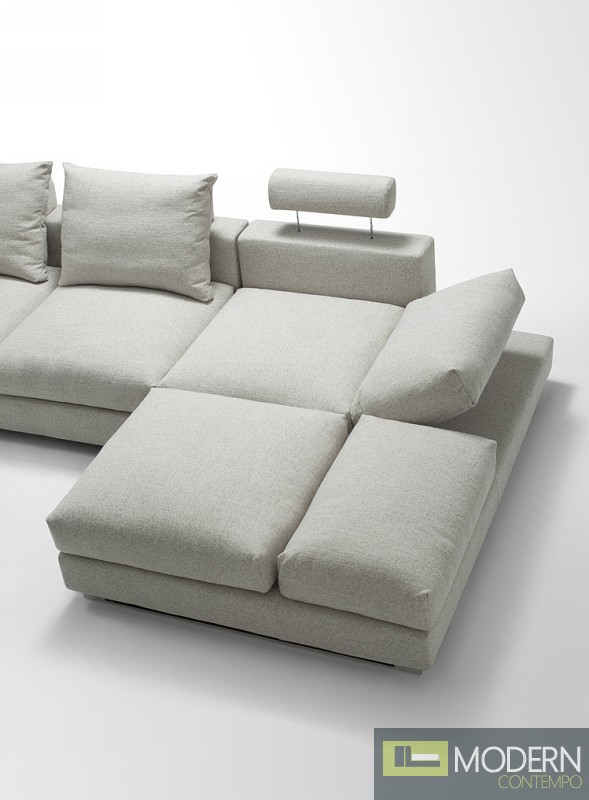 Modern White Fabric Sectional Sofa With Adjustable Headrests