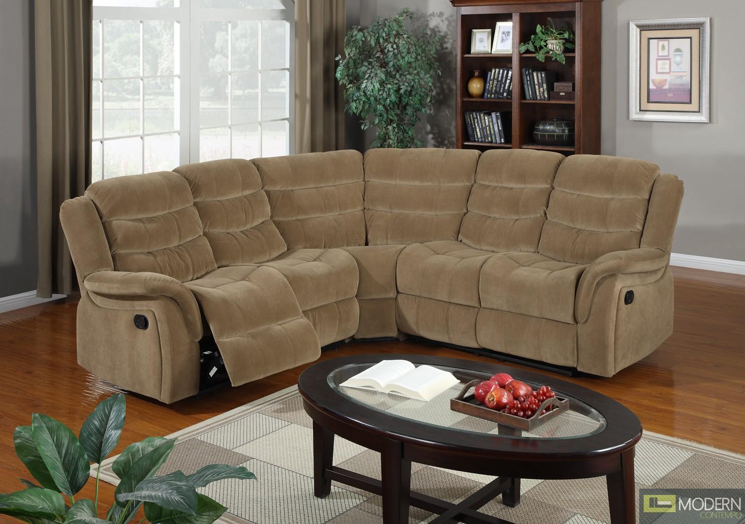 3 Pc Modern Saddle Brown Sectional Sofa Set Living Room Set TBQS8098