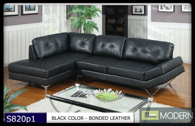 2 Pc Modern Black Bonded Leather Sectional Sofa Living Room Set TBQS820P1