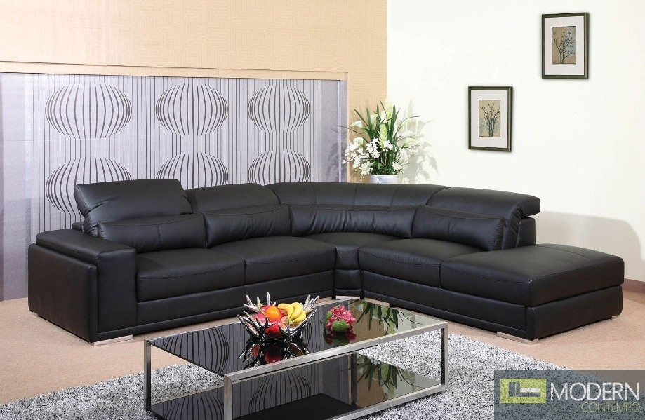 3 Pc Modern  Bonded Leather Sectional Sofa Living Room Set TBQS8713P2