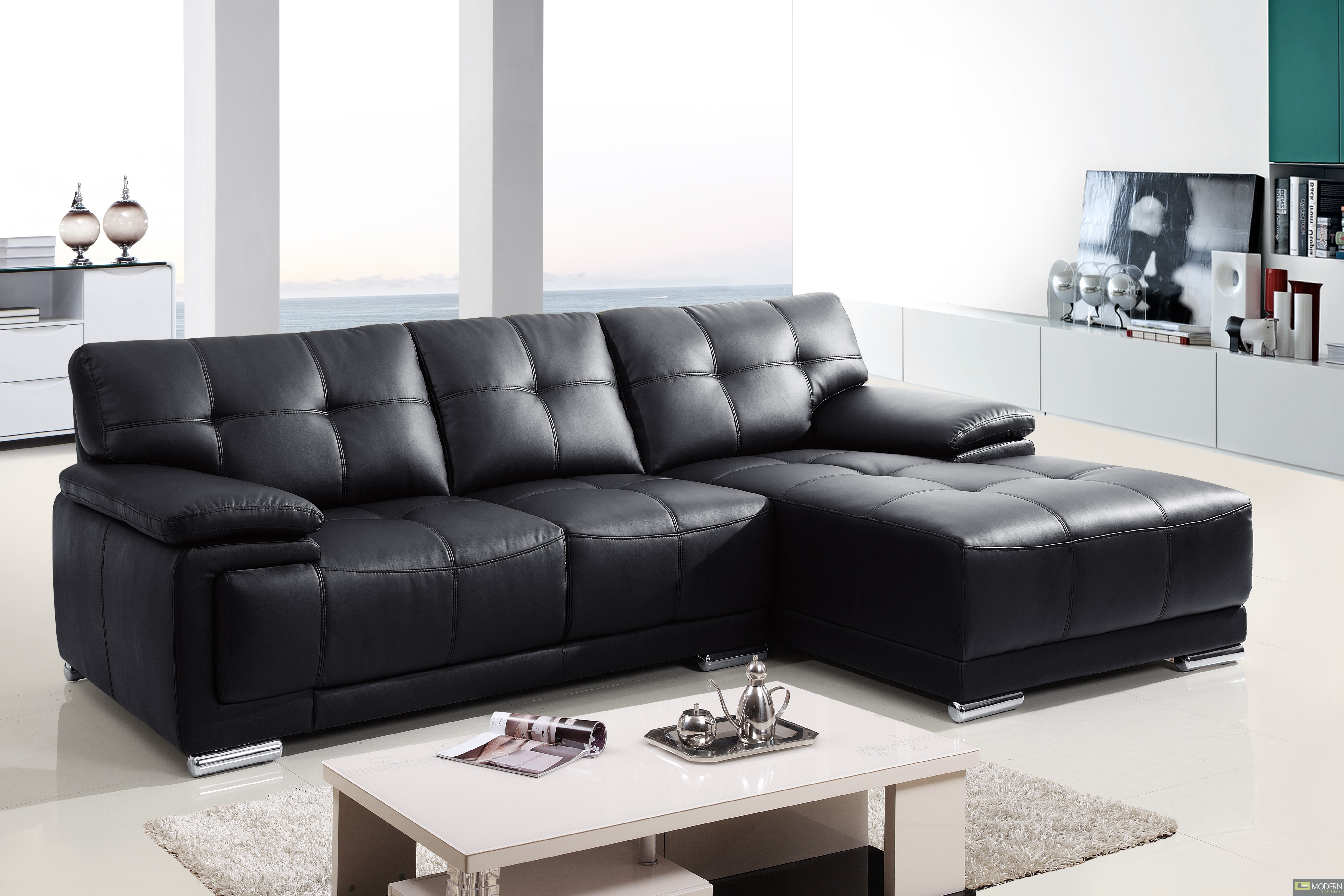 2pc Modern Leather Sectional Sofa Living Room Couch Set Tbqs8863 4