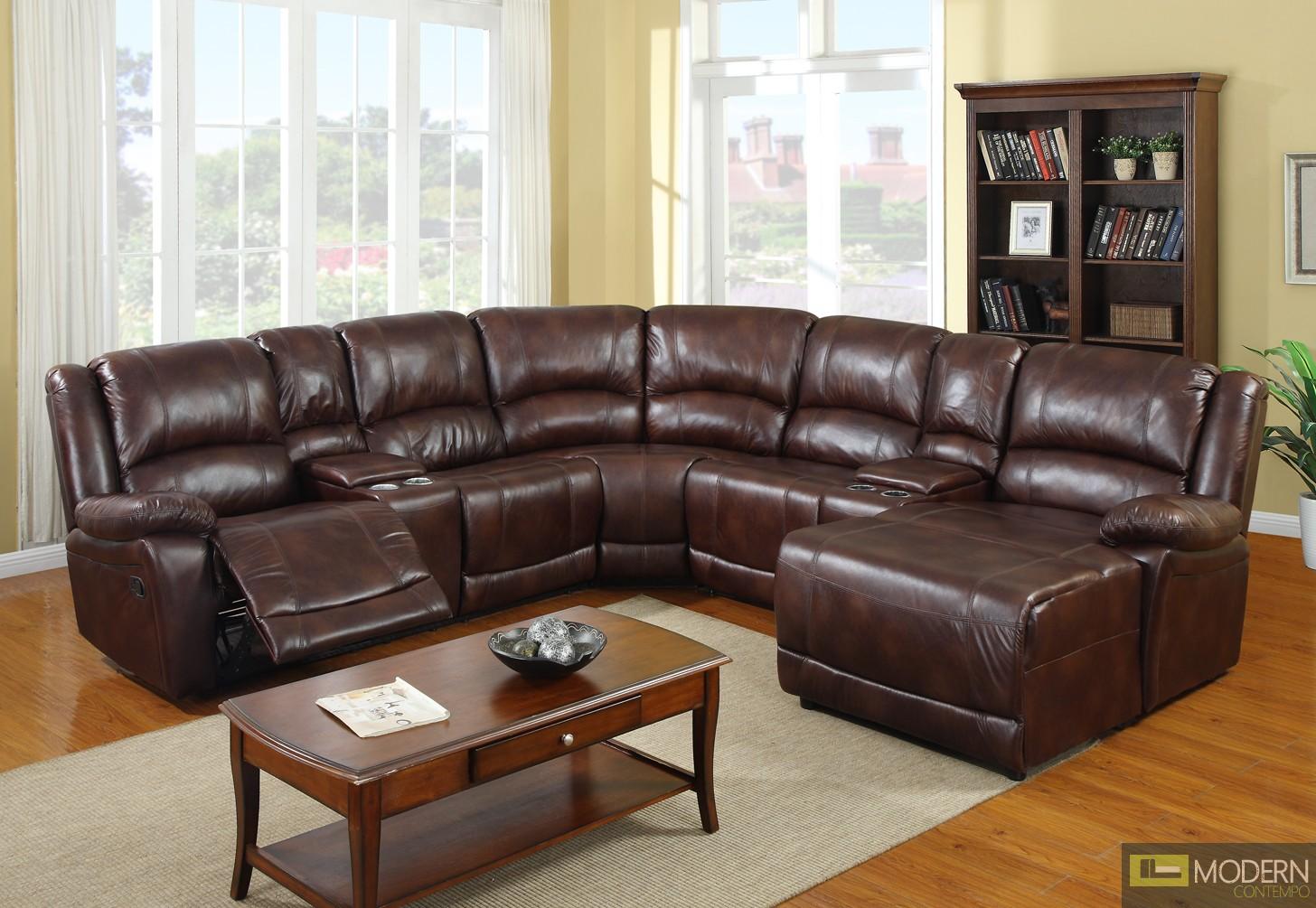 4 Pc Modern Dark Brown Polished Sectional Sofa Living Room Set TBQS9361