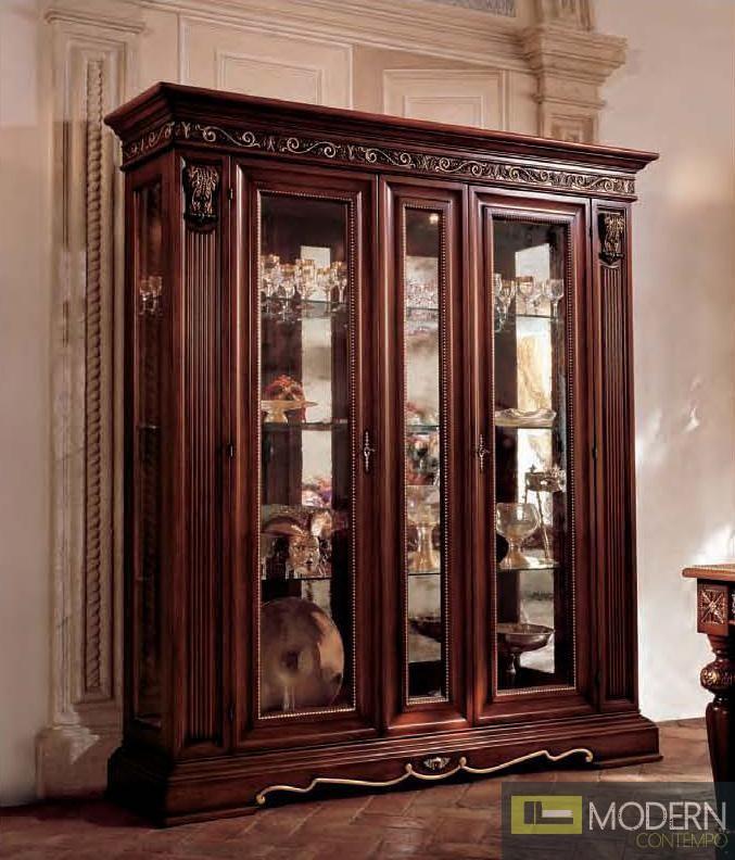 San Marco Dark Walnut Large Dining Display Cabinet