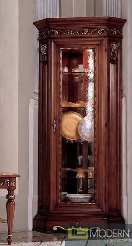 San Marco Dark Walnut One Door Dining Display Cabinet