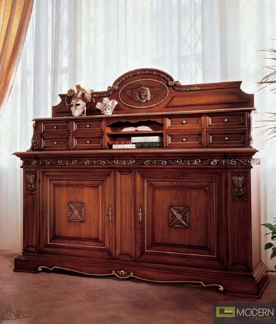 San Marco Dark Walnut Triple Decker Display Buffet