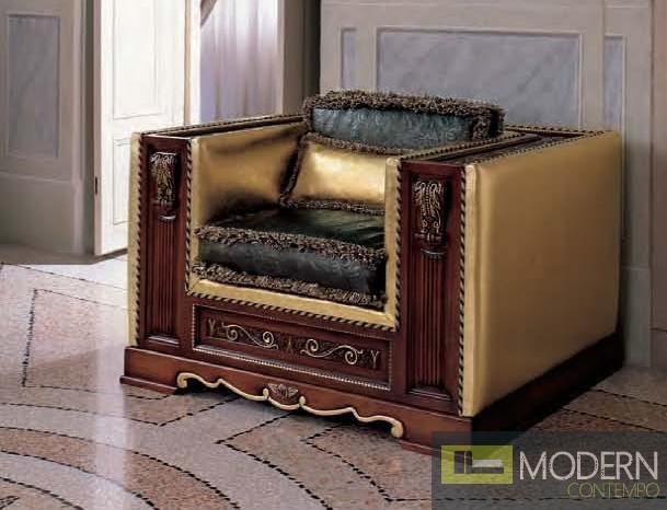 San Marco Dark Walnut Armchair in Gold/Dark Green