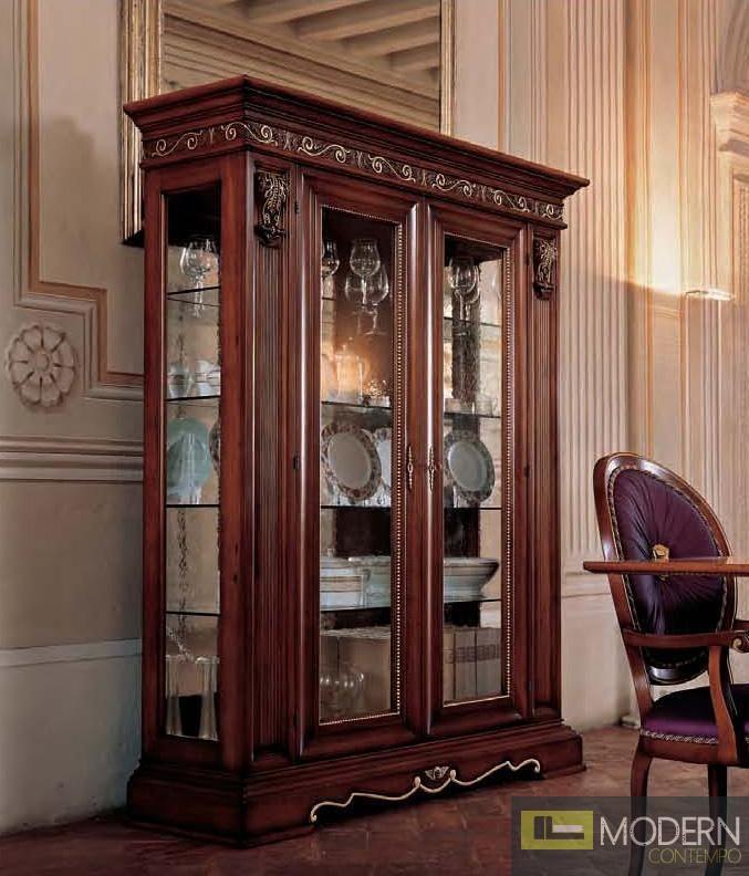 San Marco Dark Walnut Two Door Dining Display Cabinet