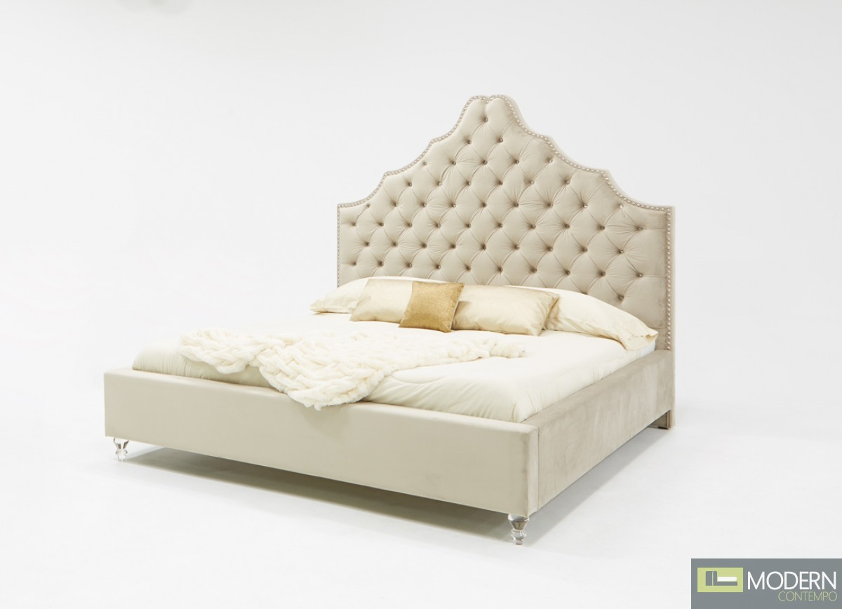 Suzanne Transitional Light Grey Fabric bed