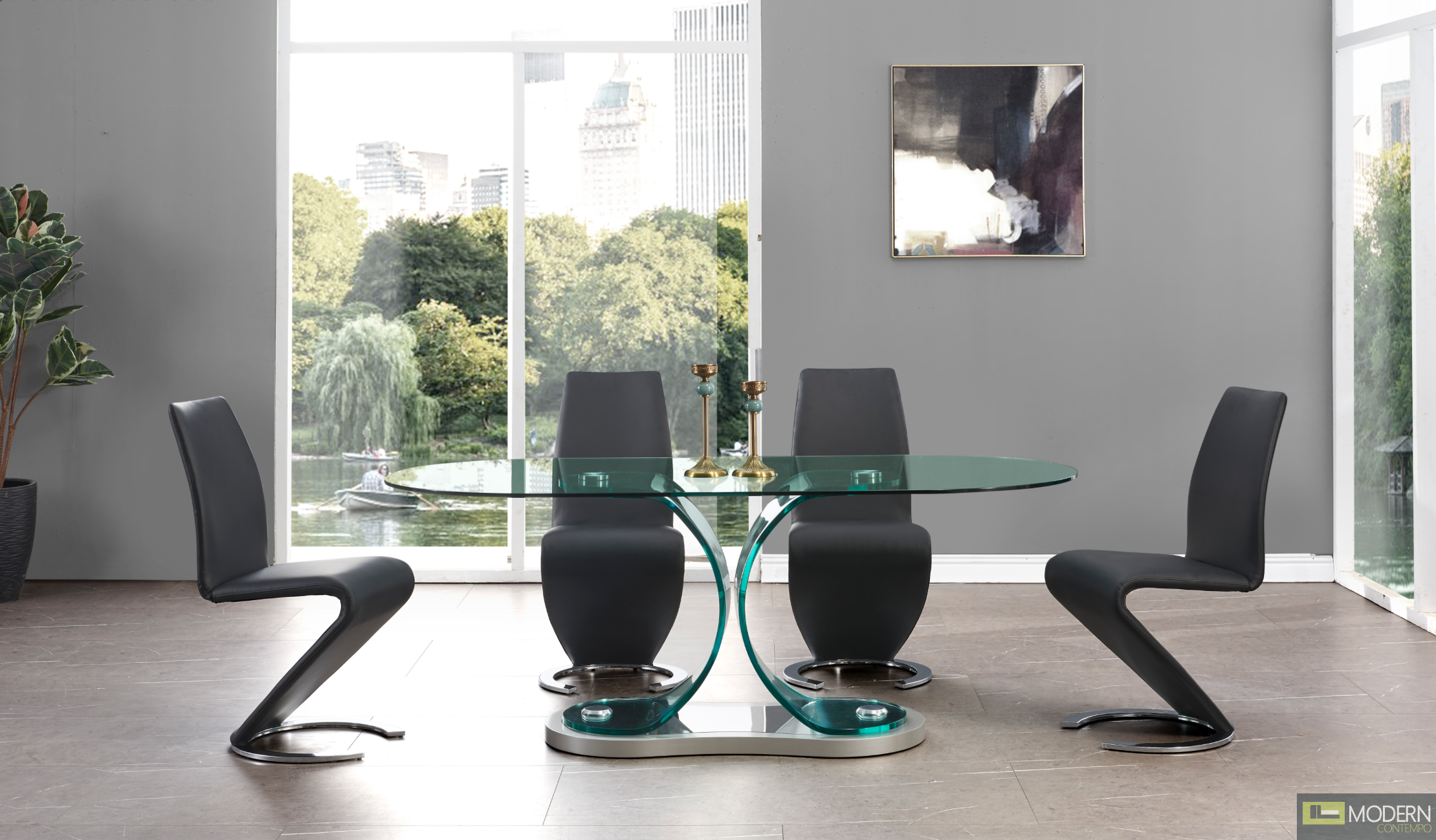 5Pc Zeus Modern Bent Glass Oval Dining Table and Grey Leatherette  chairs Set 3