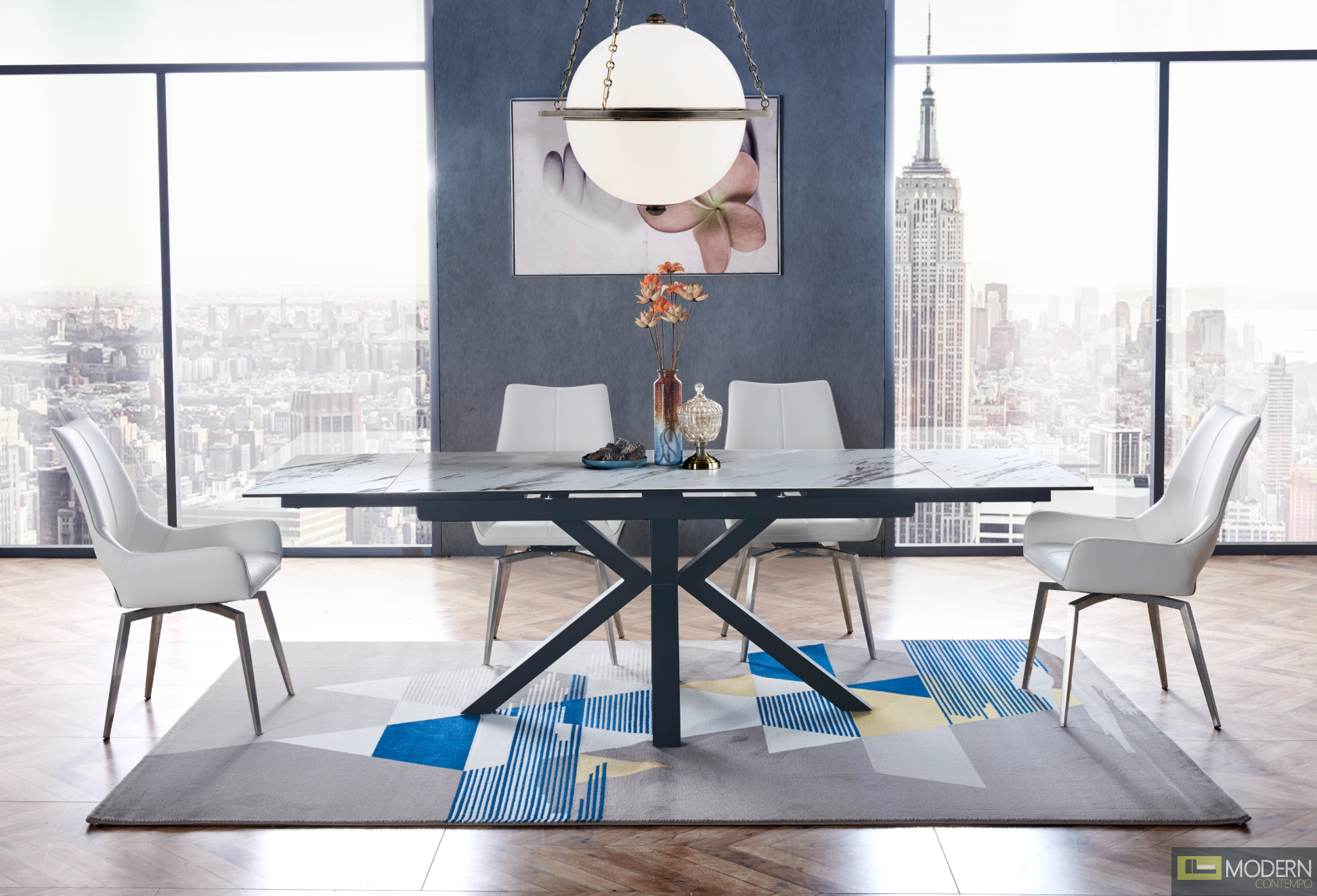 5Pc Dining Table with faux marble glass-top and black matte X-base with white Leatherette chairs Set 10