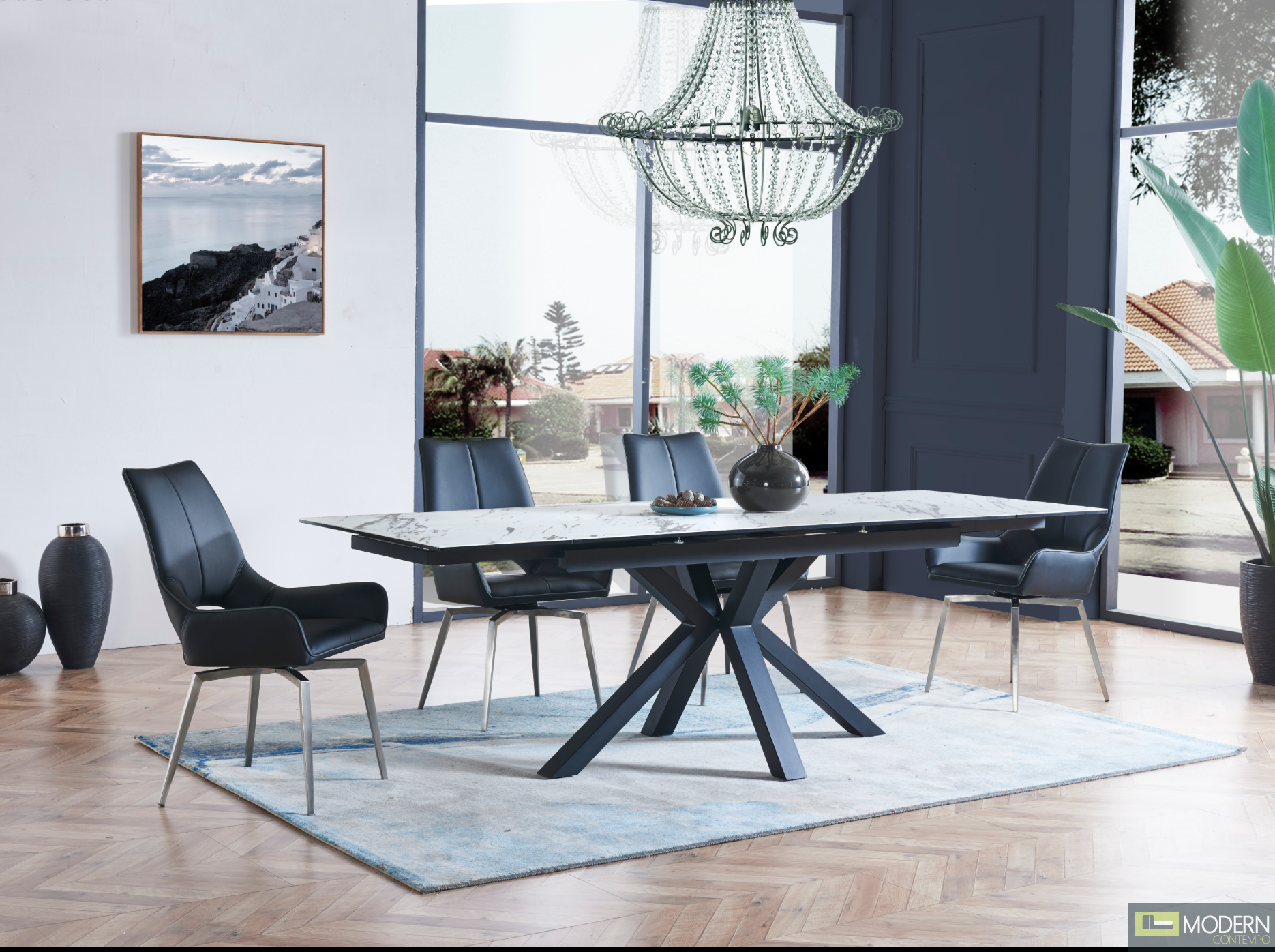 5Pc Dining Table with faux marble glass-top and black matte X-base with Black Leatherette chairs Set 11