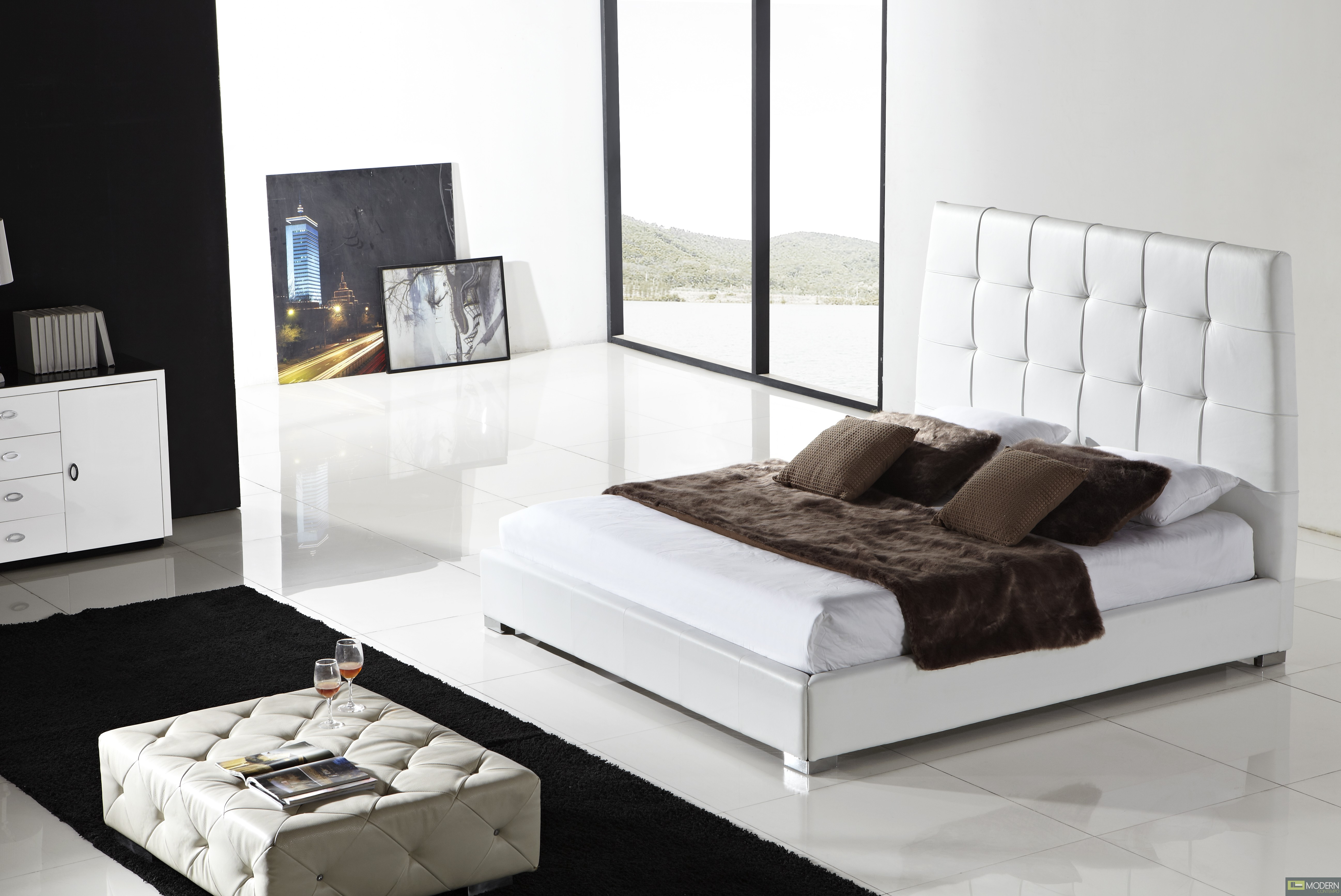 Sorrento - Modern Leather Platform Bed