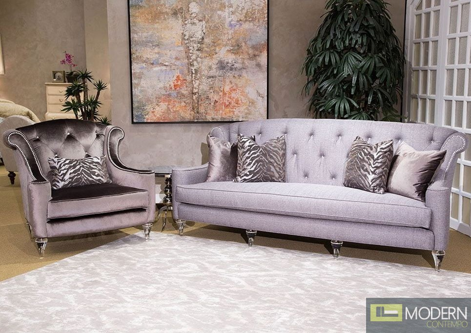 2Pc Studio Adele 2-Piece Living Room Set in Clear With Crystals by Michael Amini