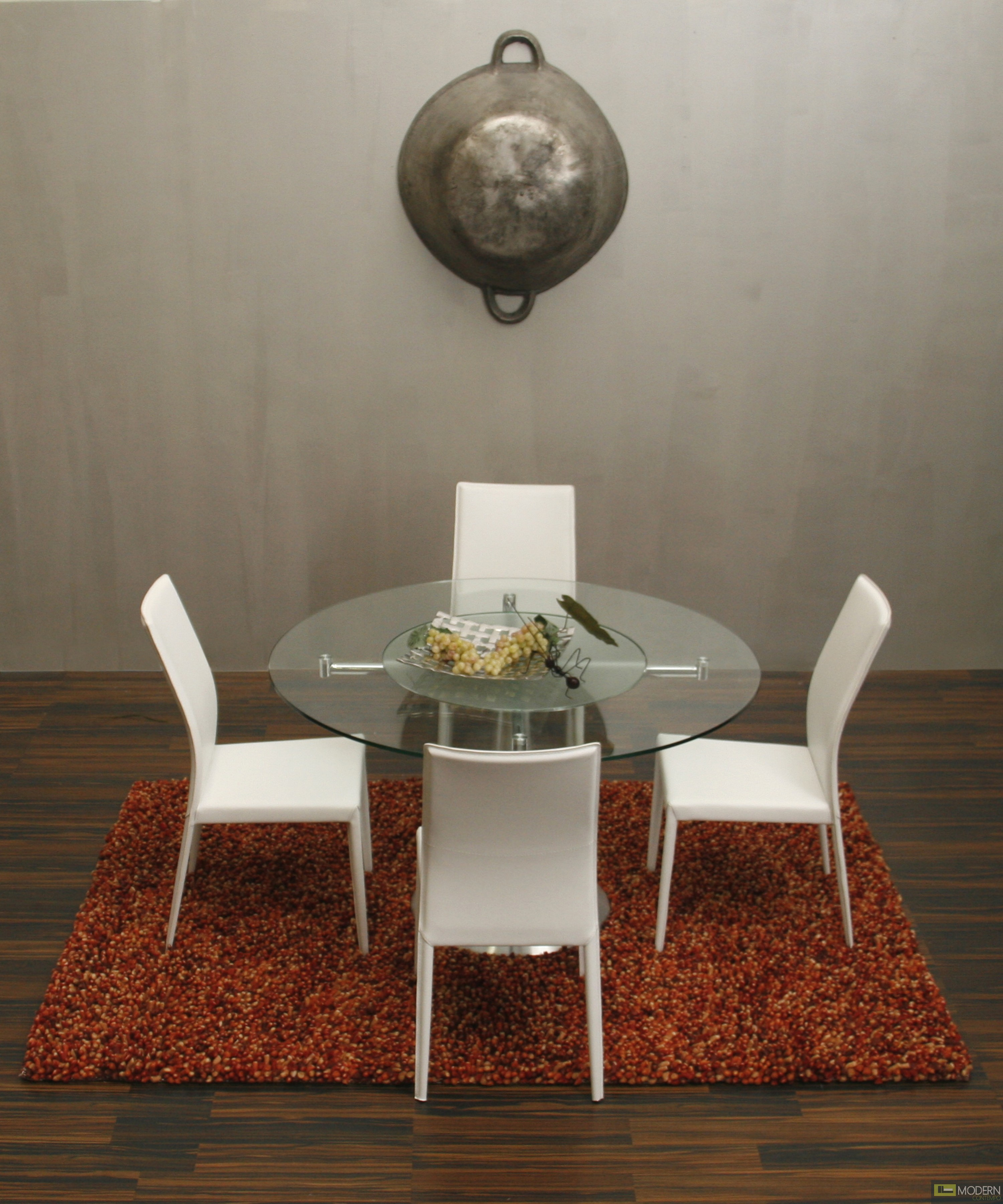 Sussie - Modern Round Glass Dining Table