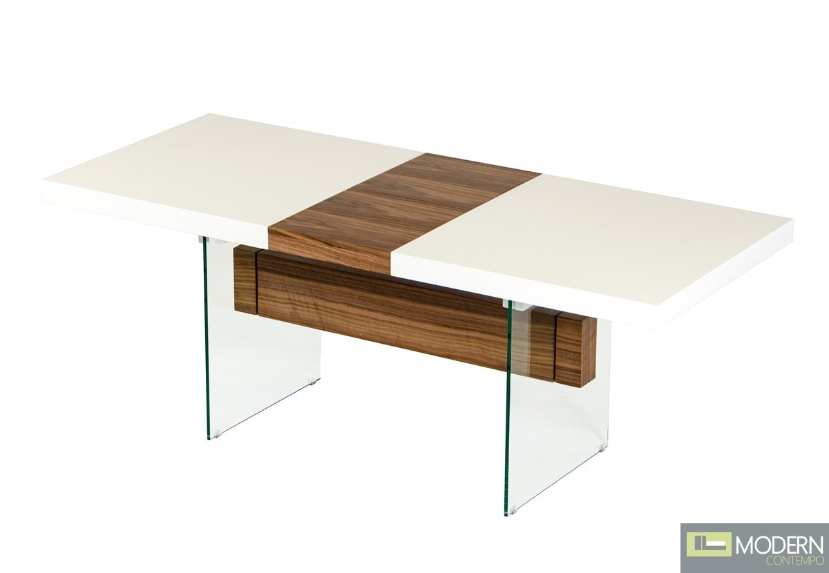 Woodbury Contemporary White & Walnut Floating Extendable Dining Table