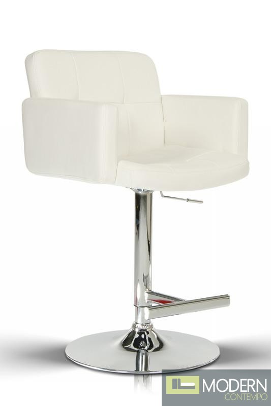 Modrest T-1040- White Eco-Leather Contemporary Barstool