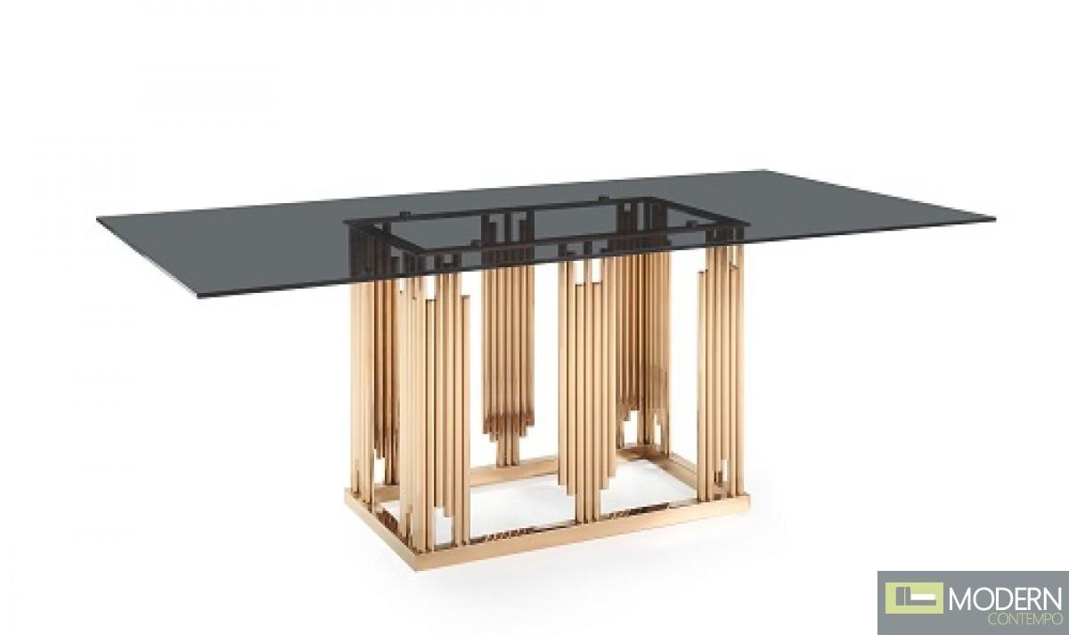 Token Modern Smoked Grey Glass & Rosegold Dining Table