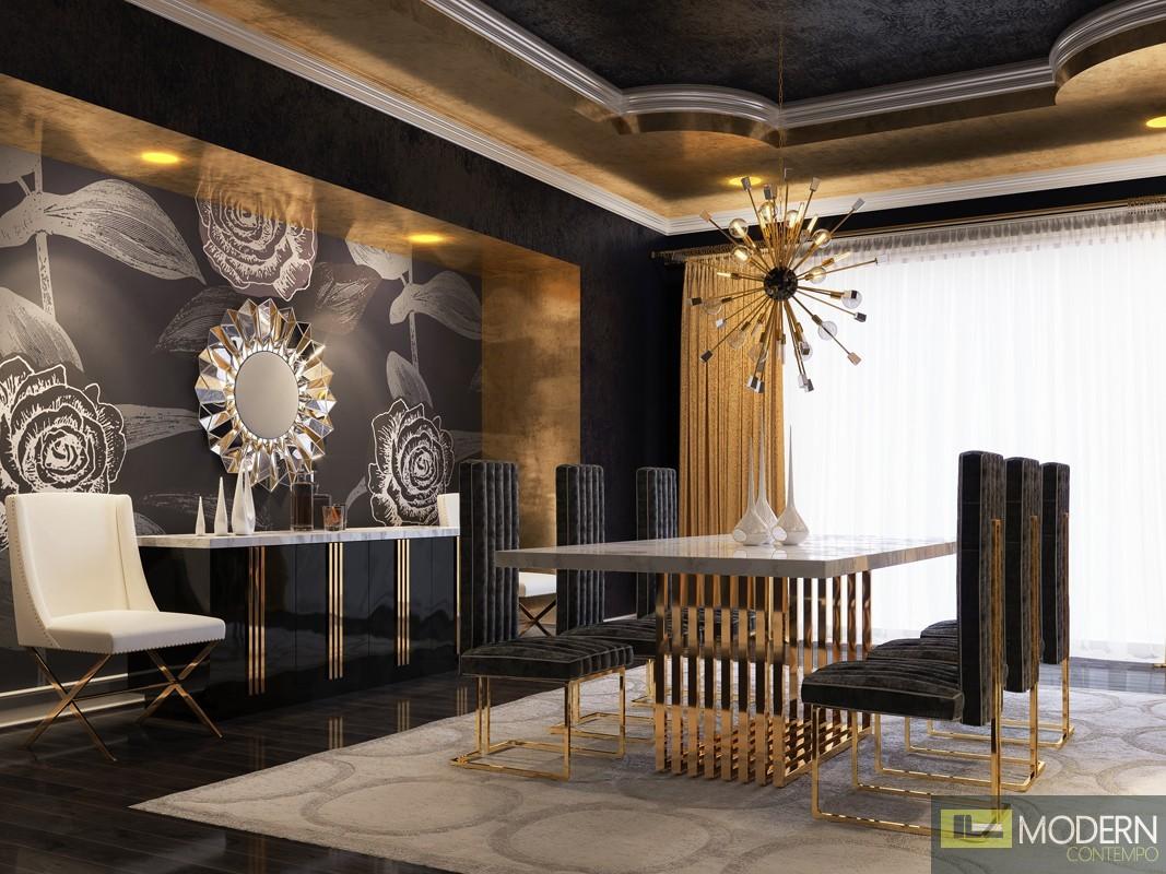 Modern Da Vittorio Marble Amp Rosegold Dining Table