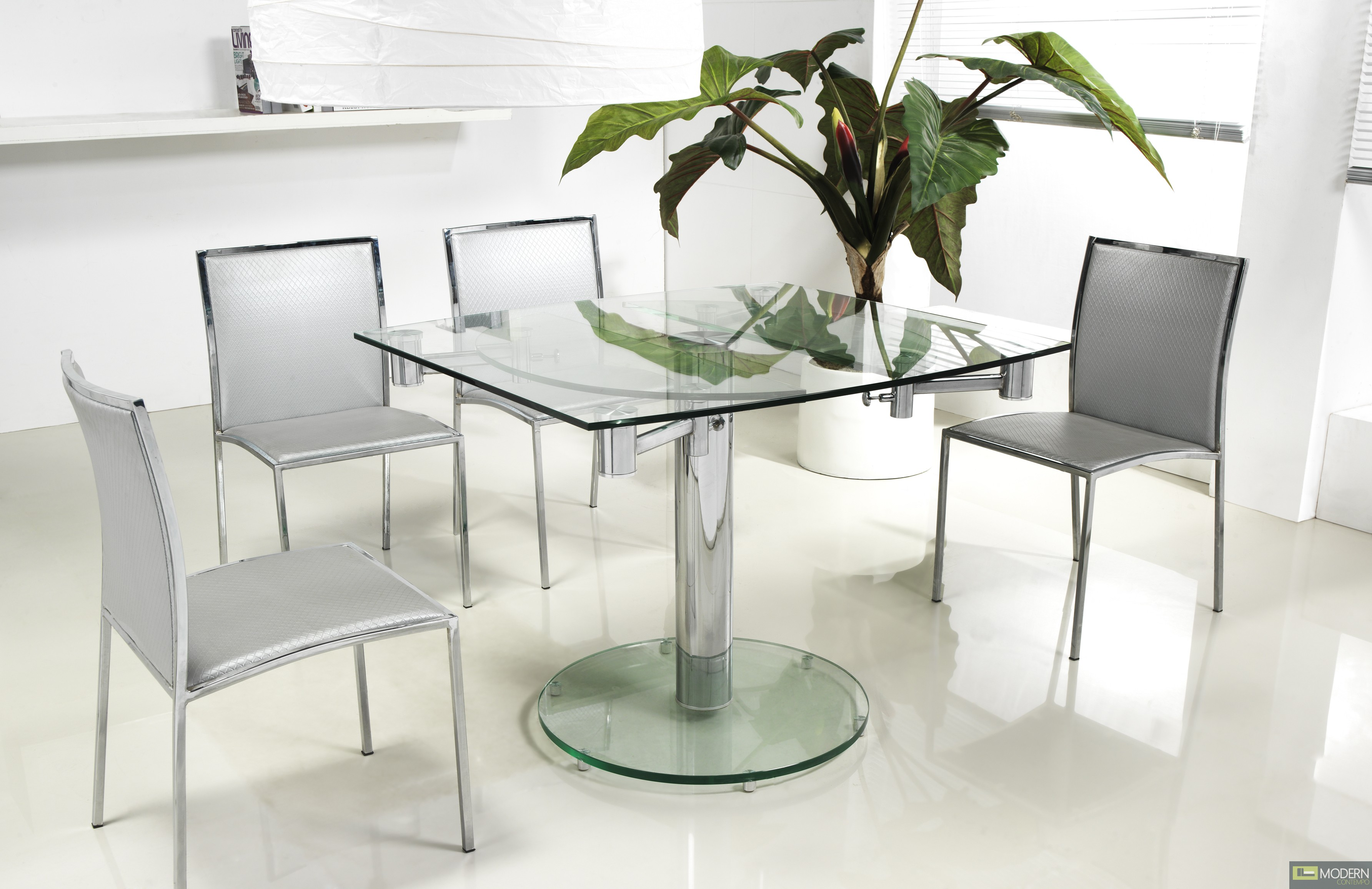 contemporary dining table thao modern extendable glass dining table 31378