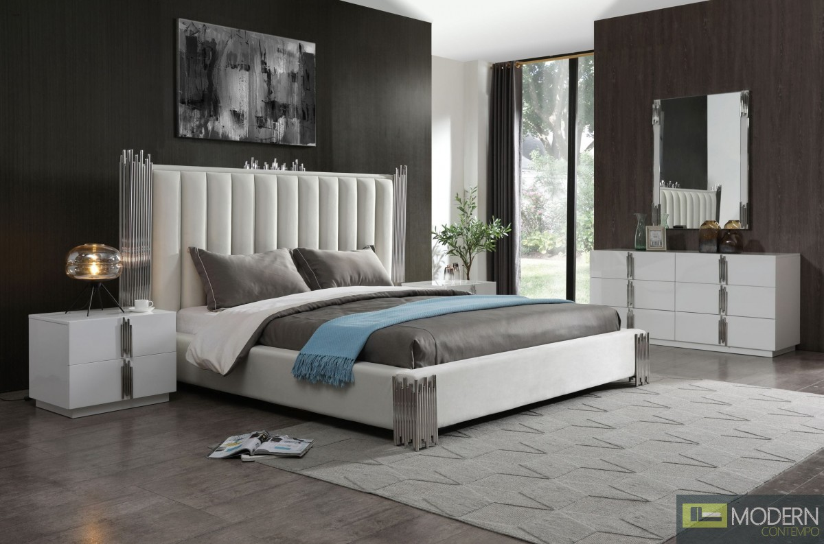 Entice Modern White & Stainless Steel Bed
