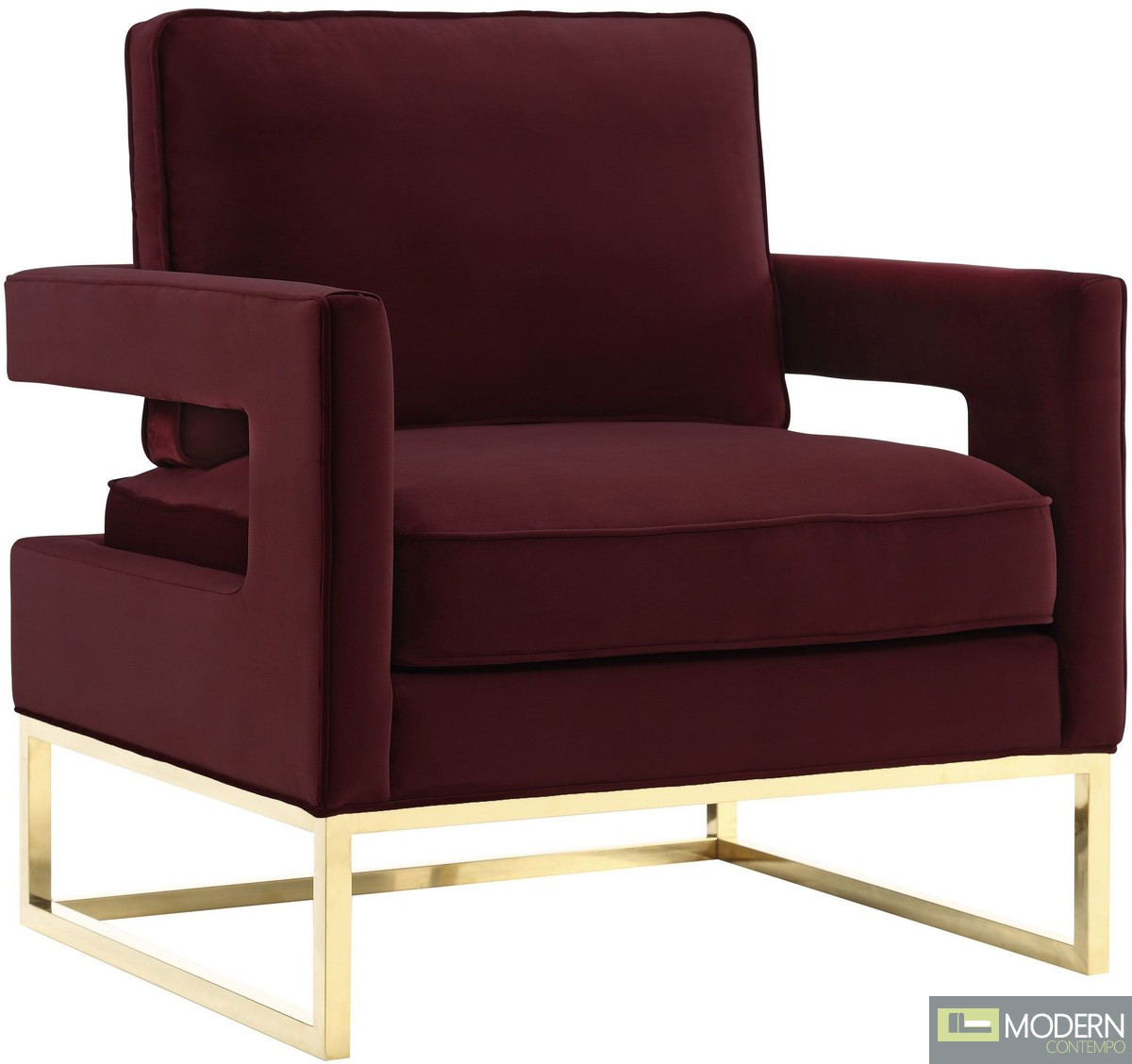 Athene Velvet Chair Scarlet & gold