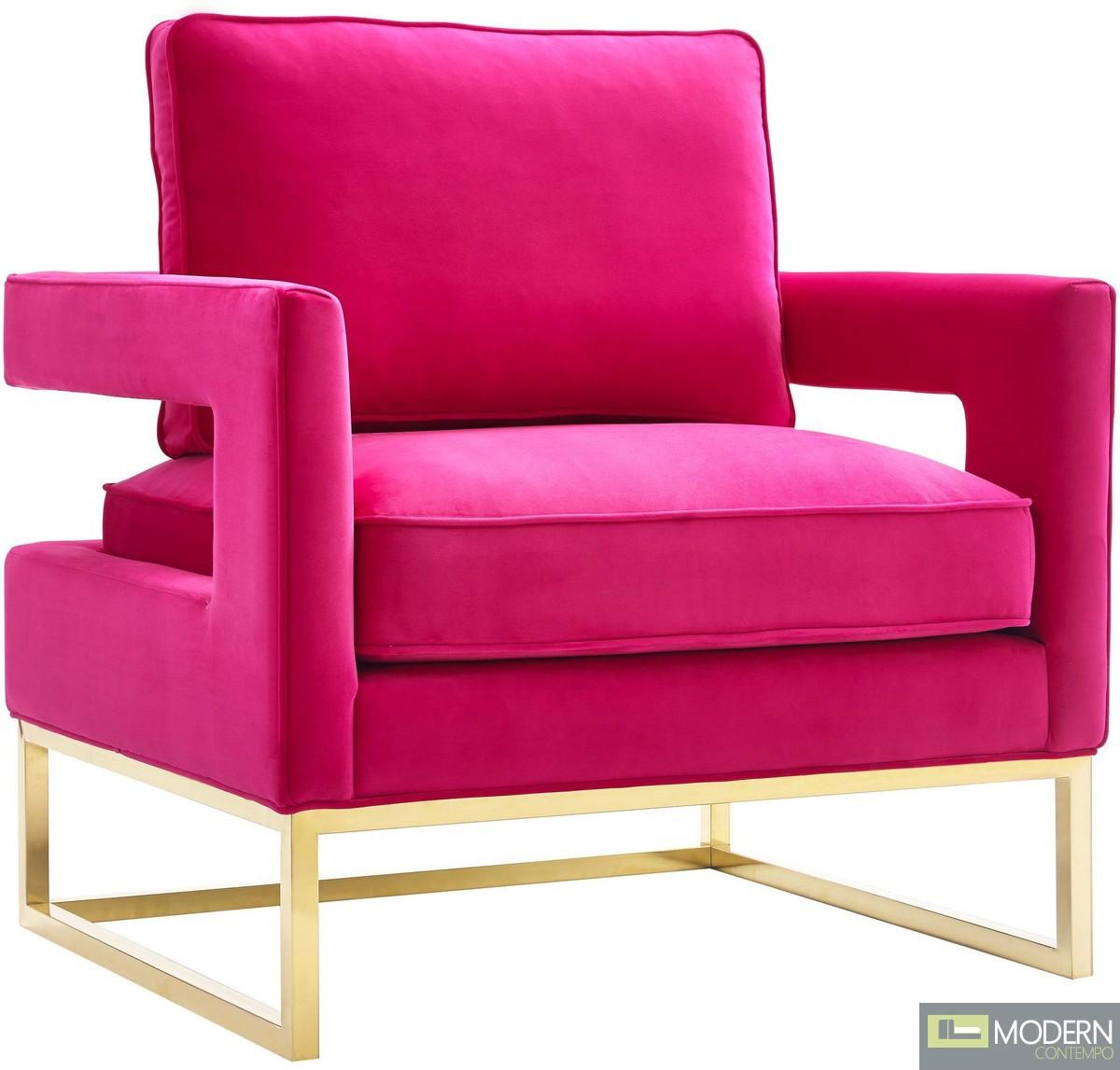 Athene Velvet Chair Fuschia & gold